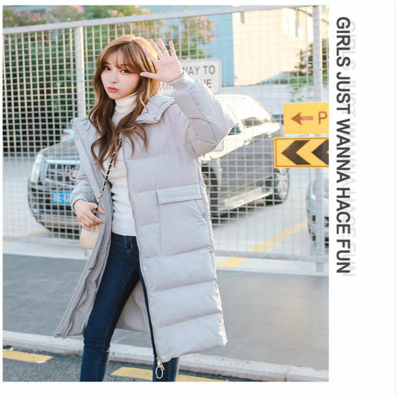Grube ciepłe zimowe kurtki parki kobiety ubrania 2019 elegancki dół bawełny długi płaszcz panie koreańskie kurtki Casacas MB701LW492