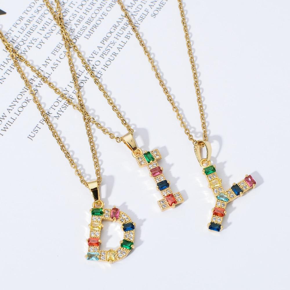 ZMZY 26PCS/Lot A-Z Letter Necklace Set Colorful Initial Pendant Necklace Necklaces