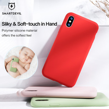 SmartDevil Solid Silicone for iphone 11 pro XS MAX XR X Phone Case for IPhone 7 8 plus Case Cute Fashion Simple Soft Candy Color