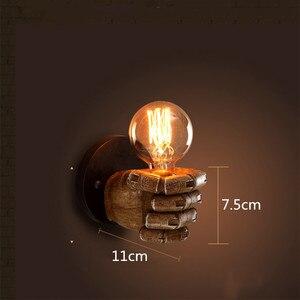 Image 5 - LED רטרו קיר מנורת Creative אגרוף שרף אור מסעדת חדר שינה קפה סלון קיר מנורות קישוט E27 הנורה 110V 220V