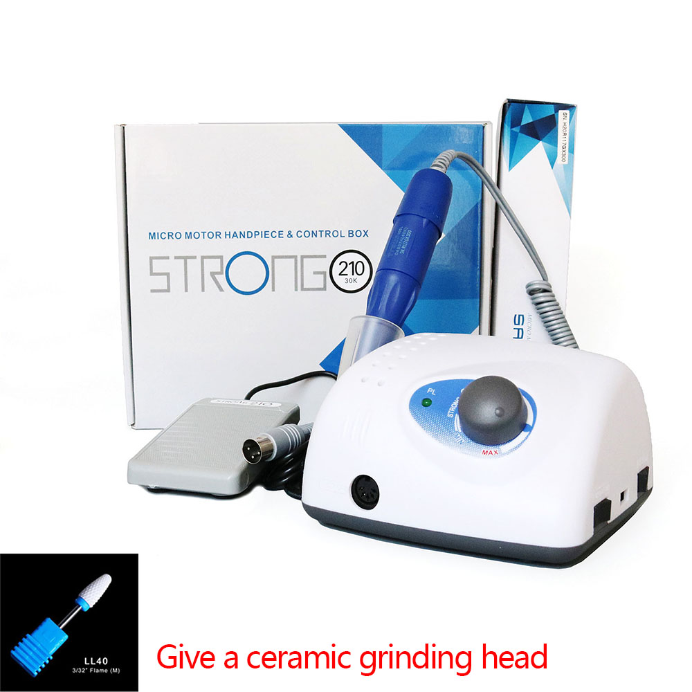 Authent <font><b>Strong</b></font> 210 65W Electric Nail Drill Machine 40000RPM <font><b>105L</b></font> 2.35mm Model Manicure Pedicure Nail File Bit Nail Art Equipment image