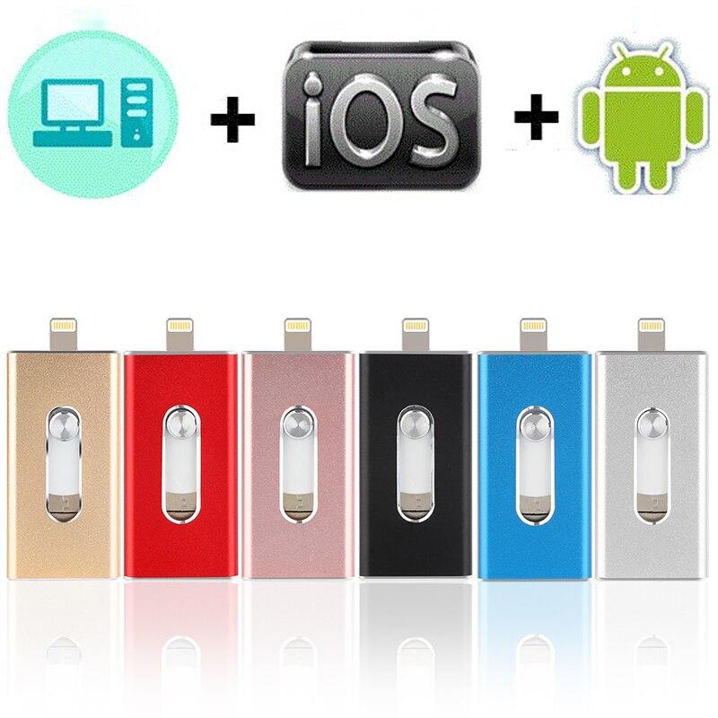 Pen drive usb para iphone 8/7/7 plus/6/6 s plus/5/5S/5c/ipad 8gb 16gb 32gb pen drive 64gb 128gb otg memória vara usb 3.0