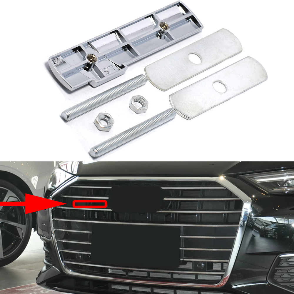 For Sline Emblem Car Front Grill Logo 3D Metal Decor Cover For Audi TT TTS Q5 RS4 RS6 RS7 B5 B6 C6 A4 A6 Car Styling Accessorie