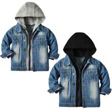 Baby Boys Hooded Denim Jackets Kids Girls Jeans Coat Children Splice Outerwear Clothing Spring Autumn Boys Sport Clothing 1-8T cheap Fashion Polyester Spandex CN(Origin) Spring Autumn 0-6m 7-12m 13-24m 25-36m 4-6y 7-12y unisex Solid Regular Outerwear Coats