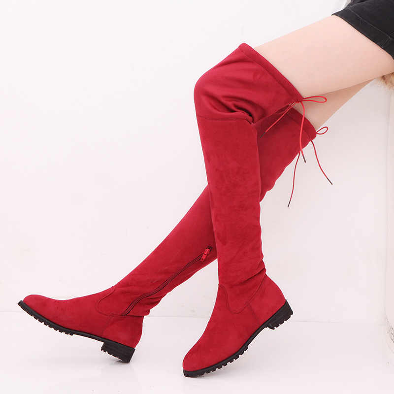 2019 Slim Thigh High Boots Over-the-knee Boots Knee-high Boots Female Winter Shoes Warm Women Boots Plus Size 43 Botas Mujer