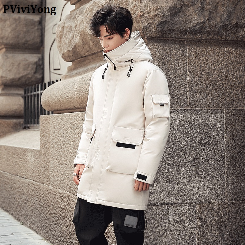 PViviYong 2019 Korea Winter high quality hooded white duck   down   jacket ,fashion thicked parka men   coat   QT709/6518