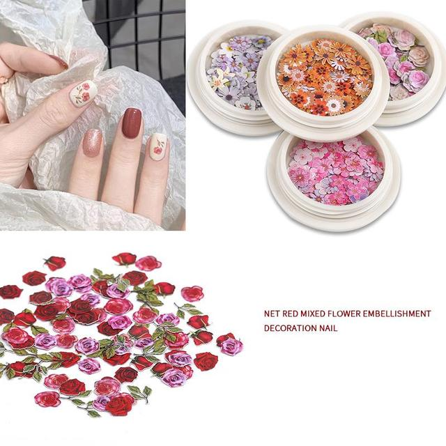 50pcs/Box Wood Pulp Paper Mini Dried Flowers Sheets Resin Filling For UV Resin Jewelry Nail Art Decoration Accessories