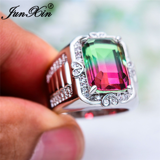 Boho Big Rectangle Rings For Men Women Silver Color White Gold Ring Green Red Blue Crystal Stone Wedding Engagement Ring Jewelry