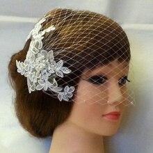 TULX One Layer Lace White Bridal Veils Face Veil Bride Wedding Headdress Accessories Pearls Elegant Women Veil Fascinator
