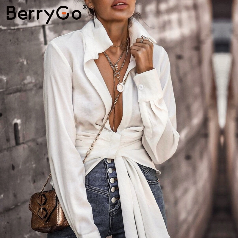 BerryGo Sexy Deep V-neck White Blouse Elegant Long Sleeve Slim Short Shirt Autumn Winter  Streetwear Bow Solid Office Lady Tops