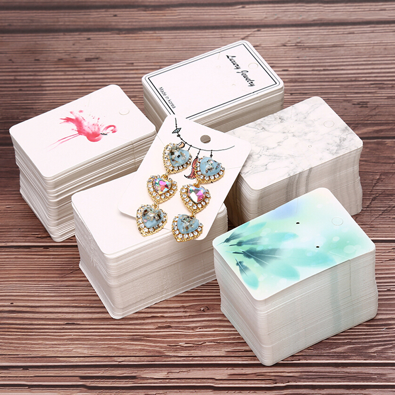 100pcs/Set Multi Color Paper Cute Stud Earring HangTag Card Custom Logo Cost Extra Jewelry Display Packing Card image