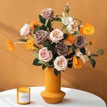 Decoración de mesa de rosas de jardín Vintage arreglo de flores de seda accesorios de decoración de hogar para sala de estar DIY
