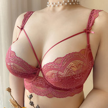 Deep V Plus Size Lace Bras And Panty Sets For Women Thin Embroidery Push Up Sexy Underwear Set Female Red Lingerie A B C D E Cup