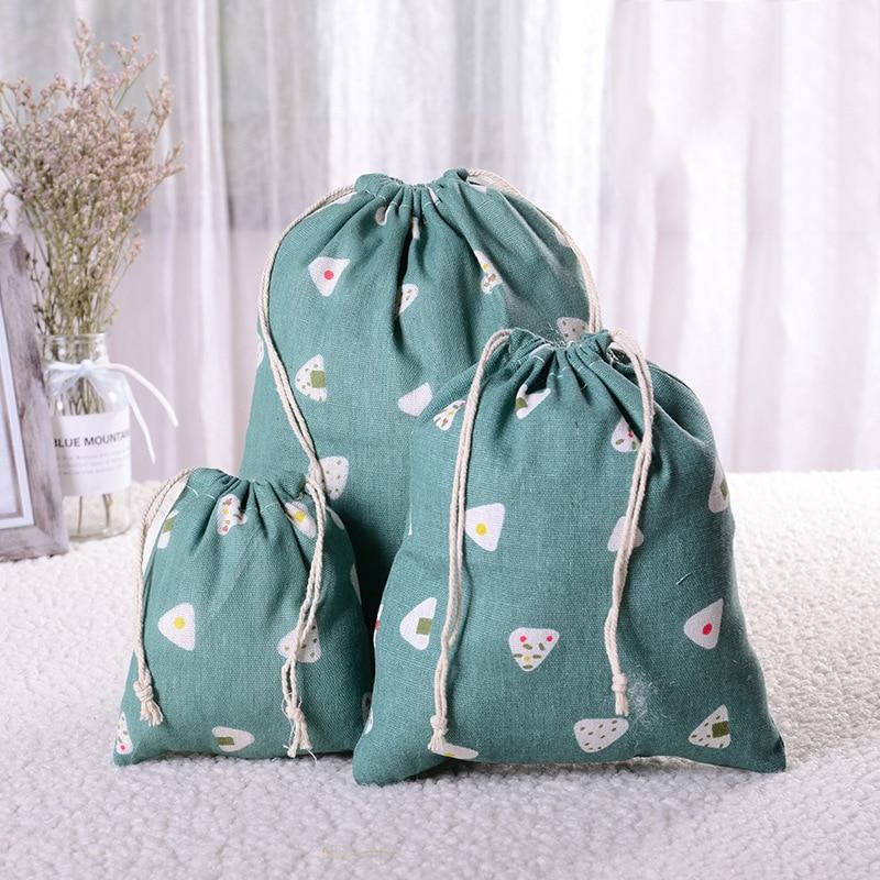 Portable Eco Reusable Casual Linen Drawstring Bag Women Dustproof Travel Storage Bag Women Makeup Organizer Bags Shopping Bag