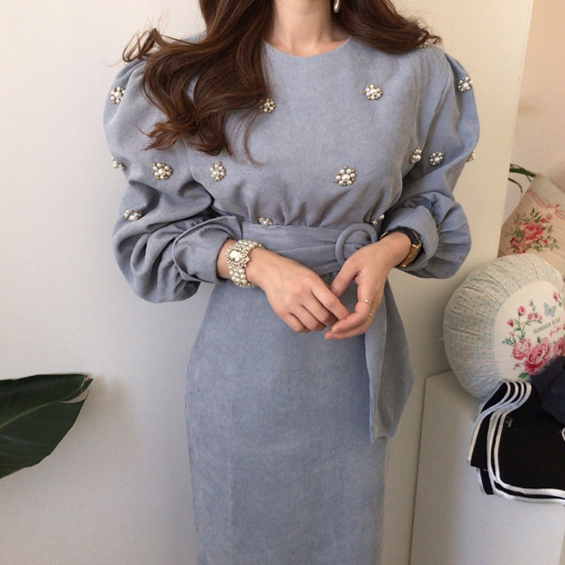 Chic Spring New Women Casual Retro Corduroy belt Dress Female Vintage Elegant Party Lace Up Dresses