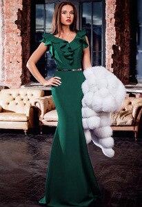 Image 4 - Elegant Evening Dress Long Maxi Dress Mermaid Robe de Soiree Ruffles Yellow Green Women Autumn Dress Vestido de Fiesta MC 2870