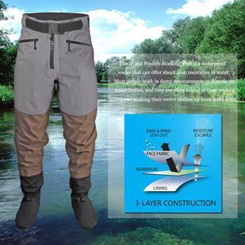 Mężczyźni oddychająca Stockingfoot wodoodporna talia wysokiej spodnie Wader dla wędkarstwo polowanie tanie i dobre opinie Men Hip Wader Pr0093 Grey Waterproof Breathable Waist Wader 3-Layer Fabric 20000mm 4 000mvp 100 Waterproof front zipper