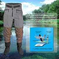 Uomini Traspirante Stockingfoot Impermeabile Vita Alta Mutanda Wader per la Caccia la Pesca Pantaloni