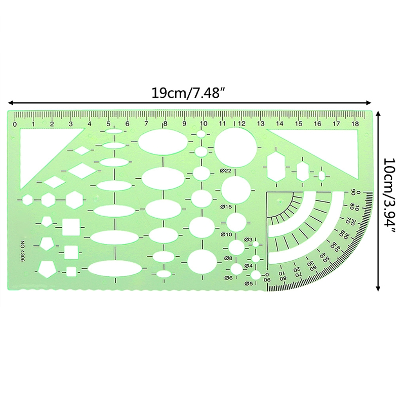 Green Geometric Template Ruler Drawing Tools Mapping Student School Stationery LX9A