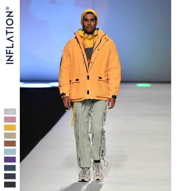 Image 2 - INFLATION 2019 Men Winter Parka Jacket Solid Color Mens Warm Parka Jacket Streetwear 10 Different Color Men Parka Jacket 8761W-in Parkas from Men's Clothing