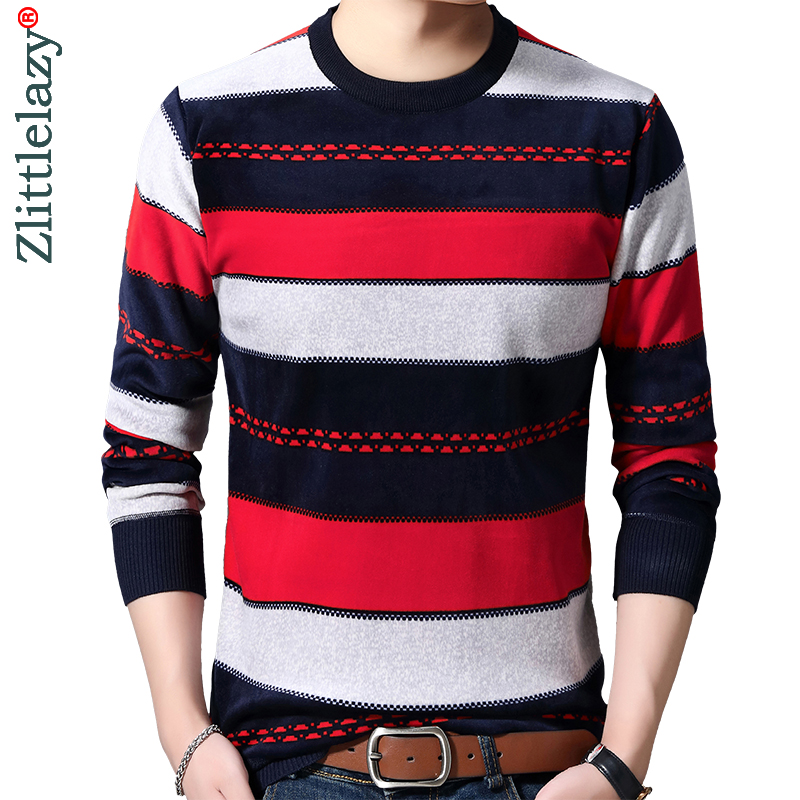 2019 Casual Thick Warm Winter Striped Knitted Pull Sweater Men Wear Jersey Dress Pullover Knit Mens Sweaters Male Fashions 02111