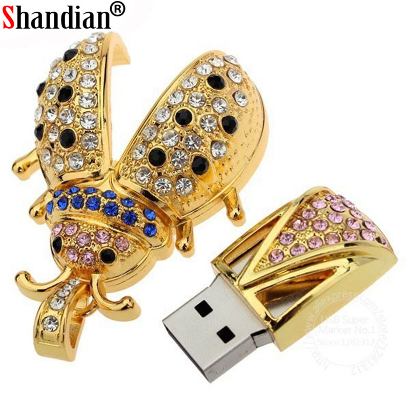 SHANDIAN Crystal Beetle Shape Usb Flash Drive 64GB Pen Drive 32GB 16GB 8GB 4GB U Disk Pendrive U Disk Memory Flash Drive