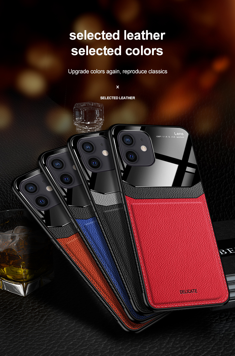 PU Leather Glass Back Cover Shockproof Case for iPhone 12 Pro Max 4