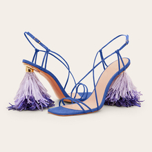 Fashion Tassel Woman Sandals Runway Single Back Stange HIgh Heels Pumps Suede Leather Woman Summer Sandals Brand Party Derss newest hot summer tassel fringe suede leather ankle strappy cover heel back zipper women sandals party high heels shoes woman