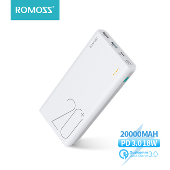 20000mAh ROMOSS Sense 6+ Power Bank With PD3.0 Two-way Fast Charging External Battery Portable Charge For Phones Tablet 20000mah solar power bank dual usb powerbank waterproof external battery portable solar battery charger charging with led light