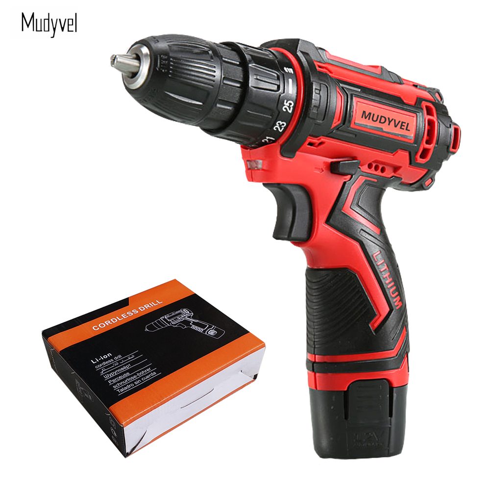 Screwdriver Cordless 12V Power tools Rechargeable Battery Wider Profesional 3/8-Inch 2-Speed Cordless Mini Drill Electric