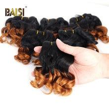 BAISI 곱슬 인간의 머리카락 번들 6 개/몫 브라질 헤어 위브 번들 8 10 12 인치 헤어 익스텐션 인간의 머리카락 1B/27 번들 특가
