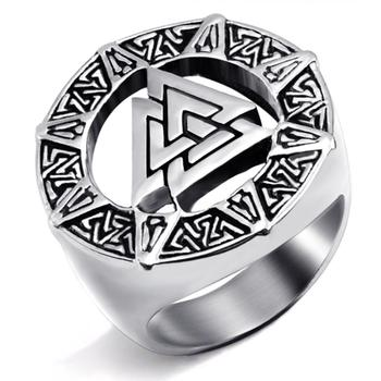 Valknut-anillo de acero inoxidable para hombre, símbolo de Odin nórdico Vikingo, joyas de motorista, talla 7-14