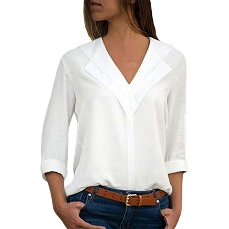 Autumn Women blouses solid long sleeve girl V Neck Chiffon Solid Shirt Office Ladies Plain Roll Sleeve Blouse Tops