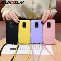 Funda de silicona líquida con cordón para móvil, funda para mi Note 10 Pro, K40, Note 9, 8, Mi Poco X3 Pro, Mi 11, Mi 10T Pro, correa para el cuello, funda de cuerda