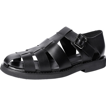 mens gladiator sandals summer High Quality Genuine Leather Sneakers Men Slippers Flip Flops casual Shoes beach outdoor anti-skid