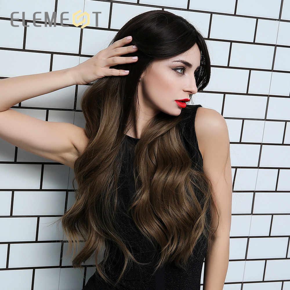 Element Lange Natuurlijke Wave Haar Ombre Brown Blond Kleur Hittebestendige Vezel Synthetische Pruiken Voor Wit/Zwarte Vrouwen
