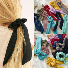 Women Summer Scrunchy Turban Bow Streamers Hair Scrunchies Ribbon Hair Ties Horsetail Ties Solid Head Wrap Hair Accessories summer style solid color women headwear turban diy bow streamers hair scrunchies ribbon hair ties horsetail ties solid head wrap