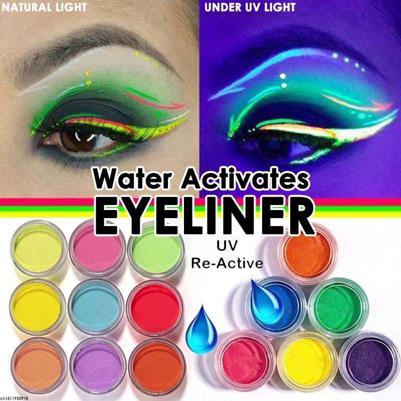 Активируемый водой подводка для глаз UV светильник неоновый Пастель подводка для глаз 21 Цвета пастельных черный светильник УФ реактивной по...