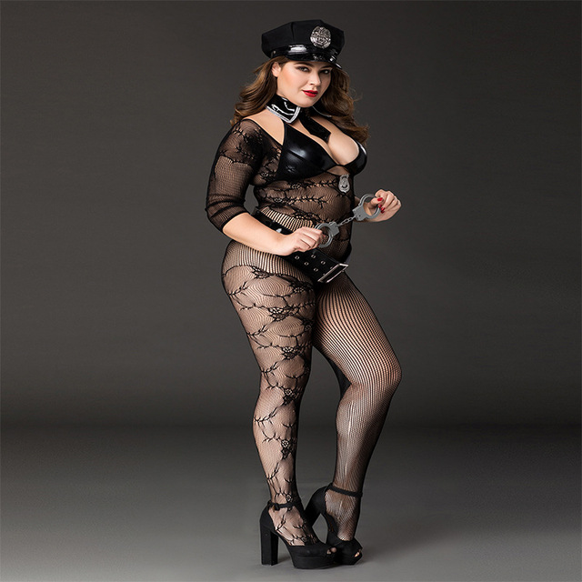 2020 Women's Sexy Large Size Police Dance Costume Set Sexy Cosplay Uniform Temptation, With Handcuffs, Belts, Hats 4