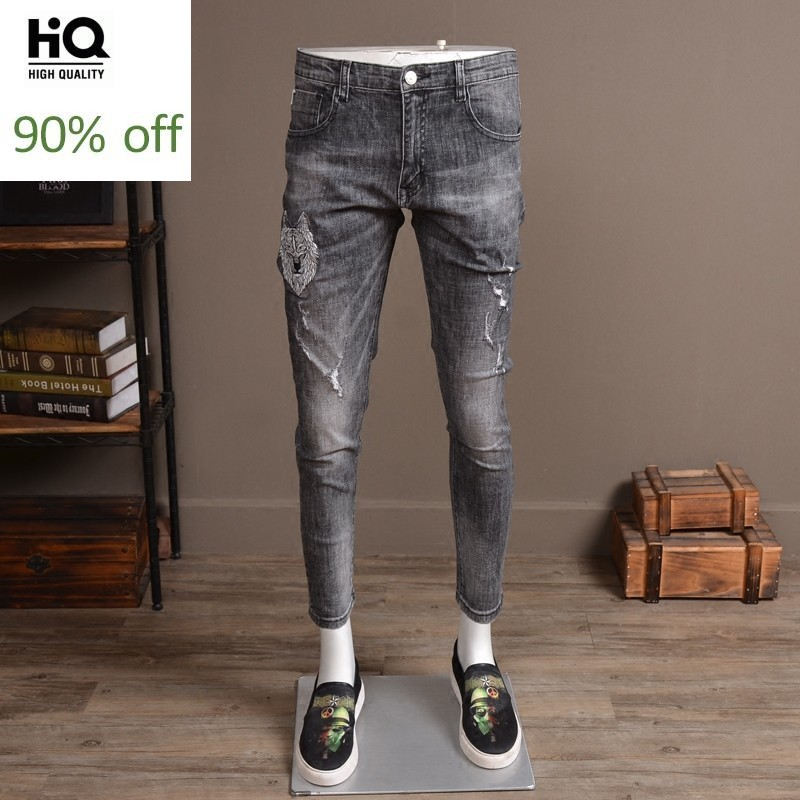 Summer Light Gray Ripped Hole Jeans Men Fashion 2020 Stretch Slim Fit Embroidery Denim Trousers Streetwear Casual Biker Pants