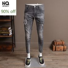 Sommer Licht Grau Zerrissene Loch Jeans Männer Mode 2020 Stretch Slim Fit Stickerei Denim Hosen Streetwear Casual Biker Hosen(China)