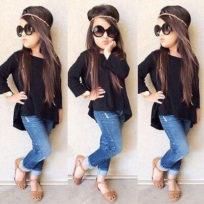 >2PCS Children Suit Fashion Toddler Kids Baby Girls Clothing Set Solid Black Long <font><b>T</b></font>-<font><b>shirt</b></font> Tops + <font><b>Jean</b></font> Denim Pants <font><b>Outfits</b></font>