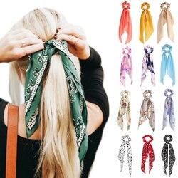 2020 moda floral impressão scrunchies sólido longo fita de cabelo para as mulheres rabo de cavalo cachecol doce elástico faixas de cabelo acessórios para o cabelo