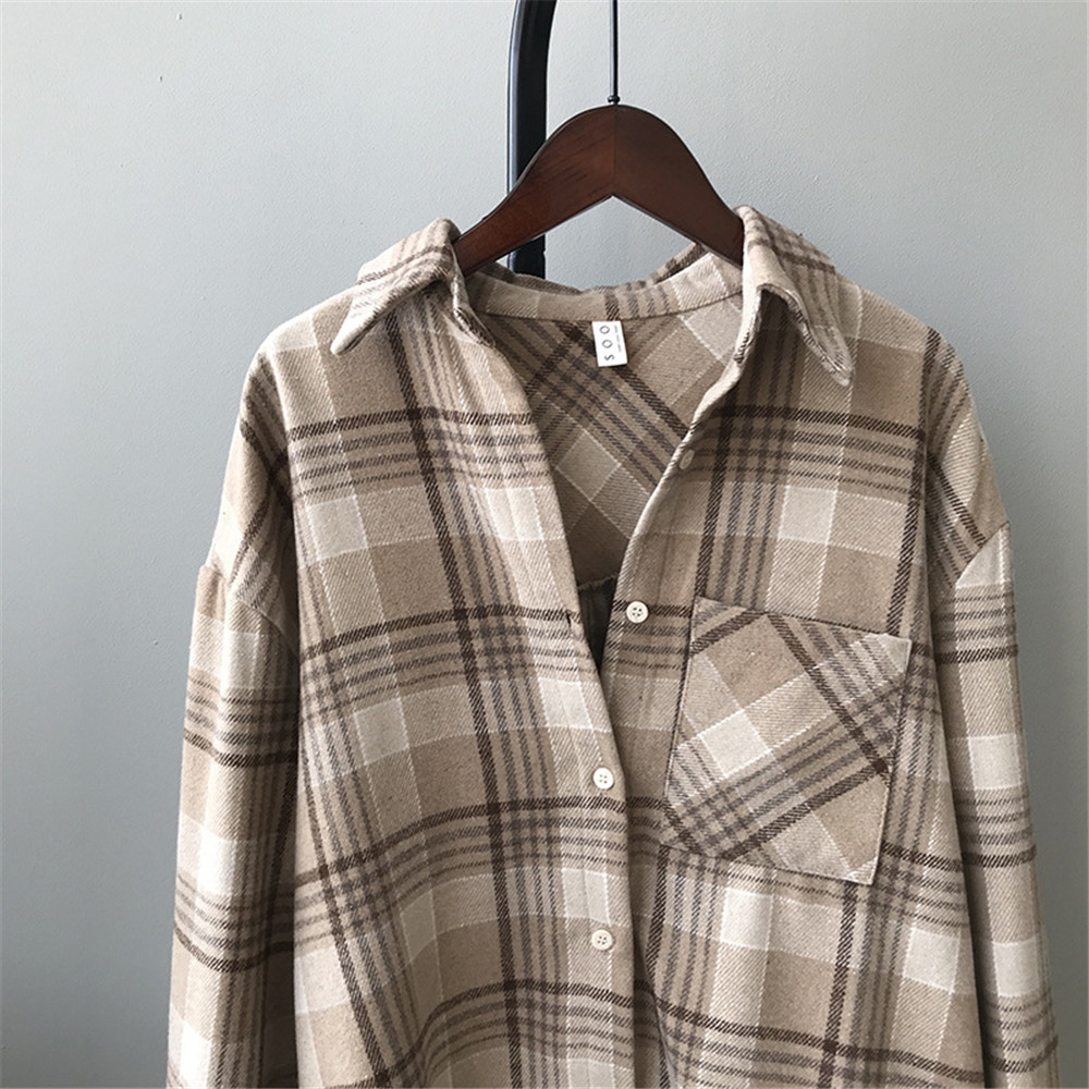 Spring Thick Loose cotton plaid Women blouses shirt 2020 female long sleeve Casual Warm women Blouse shirt office lady top Y0675 (17)