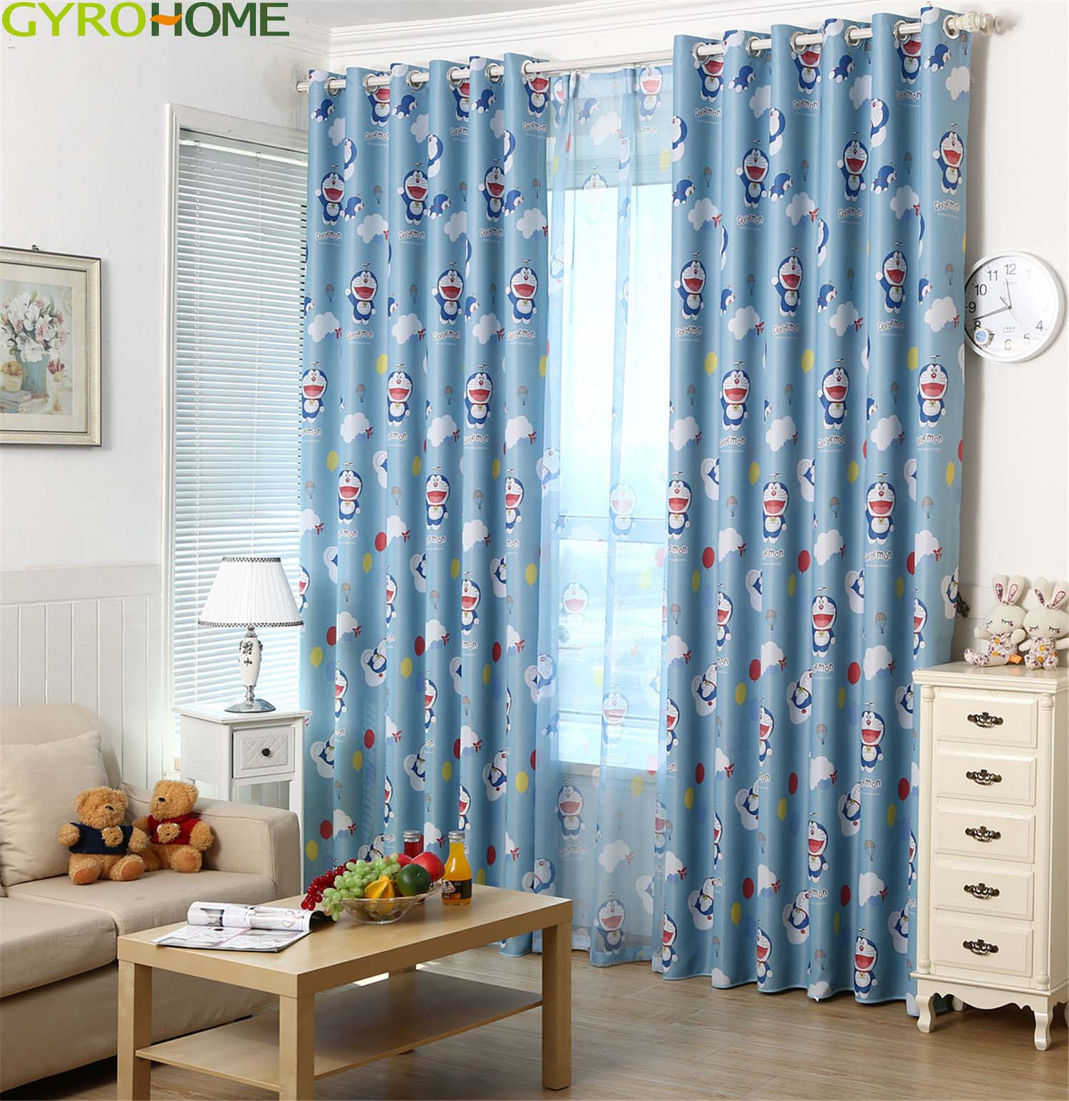 Cartoon Cat Printed Blackout Curtain for Children room Polyester High Quality Environmental Blue Living Room Window Drapes|Curtains| |  - title=
