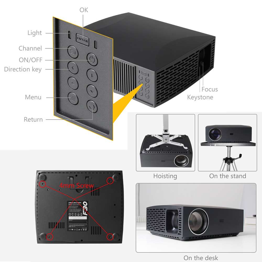 Image 4 - ALSTON F30 F30UP Full HD 1080P Projector 4K 6500 Lumens Cinema Proyector Beamer Android WiFi Bluetooth hdmi VGA AV USB with gift-in LCD Projectors from Consumer Electronics