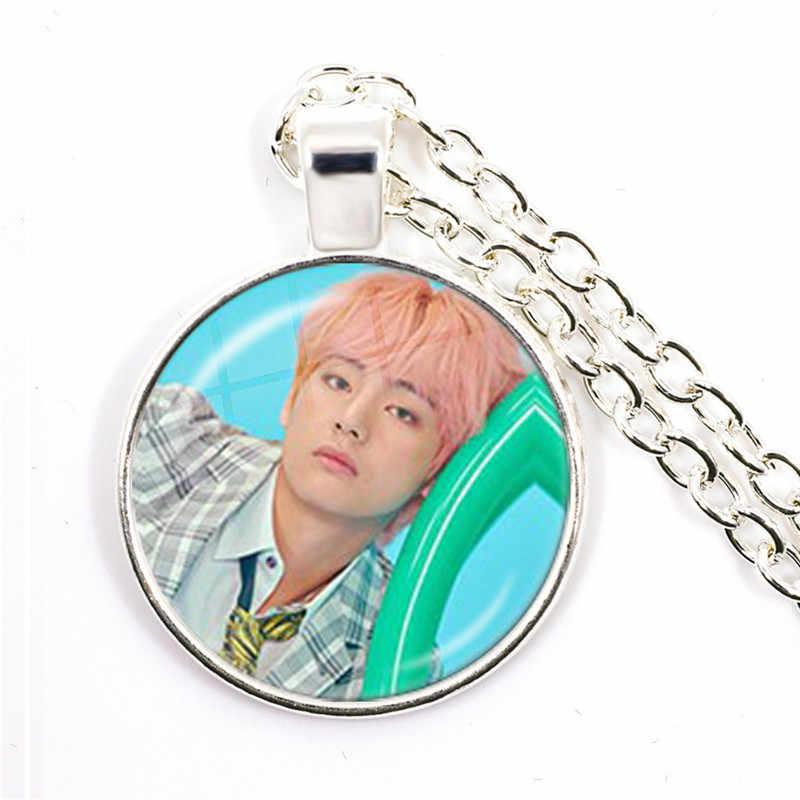 Bomba do exército kpop 25mm vidro cabochão pingente colar bt21 jóias k-pop meninos acessórios para fãs bigbang álbum amor a si mesmo