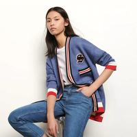 2020 Spring And Summer College Style Contrast Color Casual Stripes women's Knitted Cardigan Coat