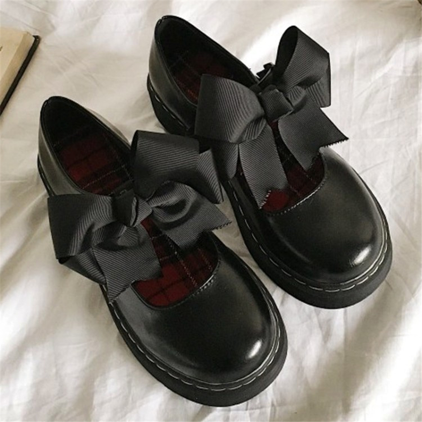 LoveLive College Girls Shoes Students Japanese Style LOLITA JK Shoes Bow Lovely PU Leather Uniform School Cosplay Shoes