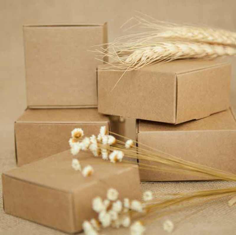 5PCS Small Kraft Paper Box,brown Cardboard Handmade Soap Box,white Craft Paper Gift Box,black Packaging Jewelry Box 5Sizes